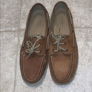 Sperrys with sequin leopard print accent